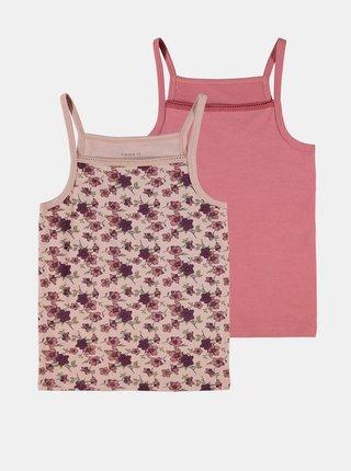 Sada dvou holčičích košilek v růžové a fialové barvě name it Strap