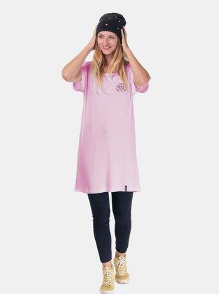 Růžové dámské dlouhé tričko s potiskem na zádech Meatfly Adele