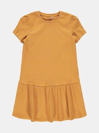 Hořčicové pruhované holčičí šaty name it Lara