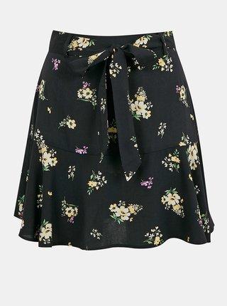 Černá květovaná sukně se zavazováním TALLY WEiJL