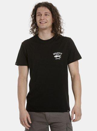 Čierne pánske tričko s potlačou na chrbte Meatfly Leader