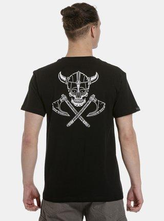 Čierne pánske tričko s potlačou na chrbte Meatfly Valhalla
