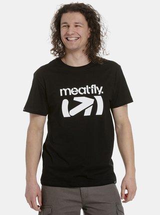 Čierne pánske tričko s potlačou Meatfly Podium