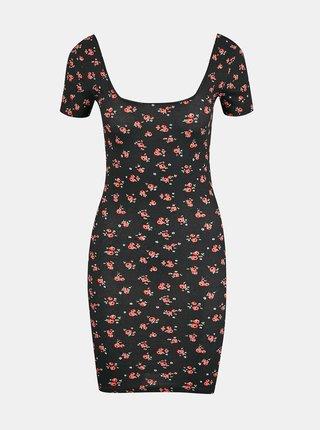 Černé květované pouzdrové šaty TALLY WEiJL