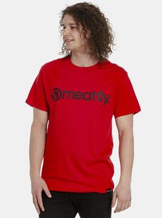 Červené pánské tričko s potiskem Meatfly Logo