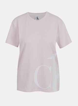 Calvin Klein ružové tričko S/S Crew Neck s bielym logom