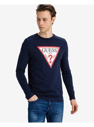 Tričká s dlhým rukávom pre mužov Guess - modrá