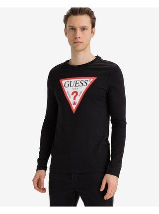 Tričká s dlhým rukávom pre mužov Guess - čierna