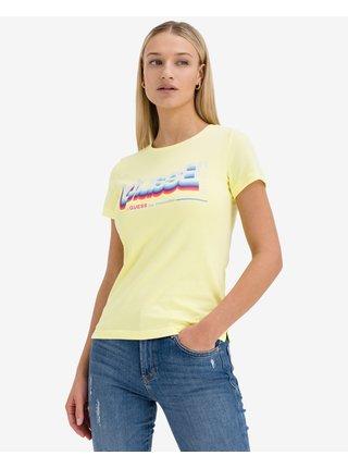 Tričká s krátkym rukávom pre ženy Guess - žltá