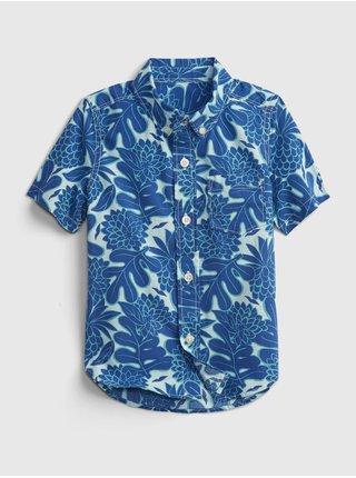 Modrá klučičí dětská košile poplin shirt GAP