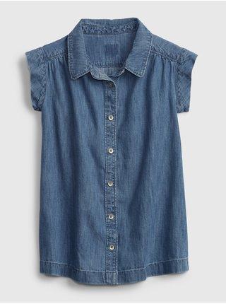 Modré holčičí dětské šaty denim med button trough dress GAP