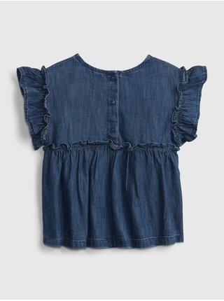Modrý holčičí dětský top med ruffle denim GAP