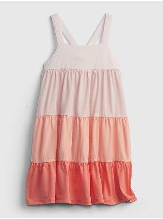 Červené holčičí dětské šaty color tier dress GAP