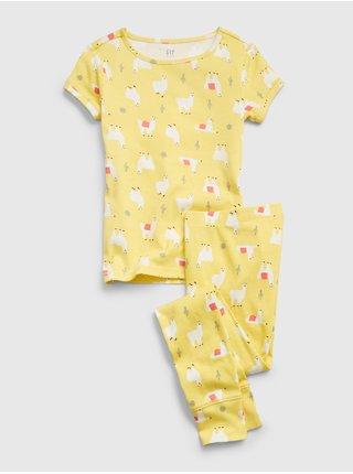 Žluté holčičí dětské pyžamo llama graphic GAP