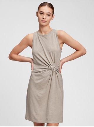 Šedé dámské šaty sleeveless knot waist dress GAP