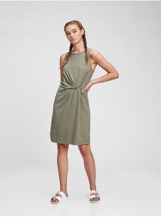 Zelené dámské šaty sleeveless knot waist dress GAP