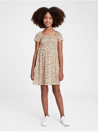 Hnědé holčičí dětské šaty smocked dress GAP