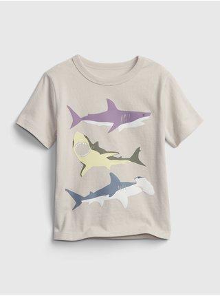 Šedé klučičí dětské tričko sharks graphic t-shirt GAP