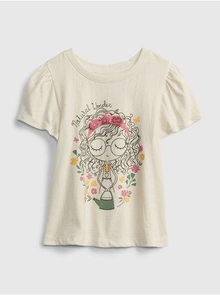 Béžové holčičí dětské tričko bea fash graphic t-shirt GAP