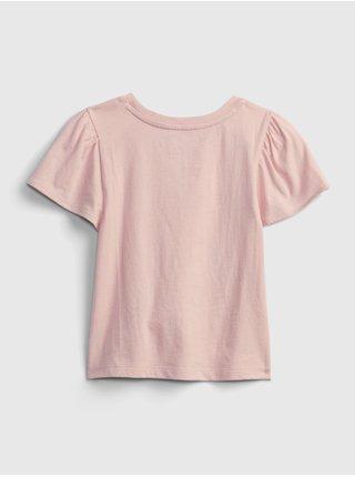 Růžové holčičí dětské tričko animals graphic t-shirt GAP