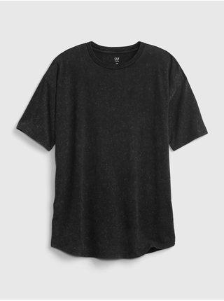 Černé klučičí dětské tričko curved hem t-shirt GAP