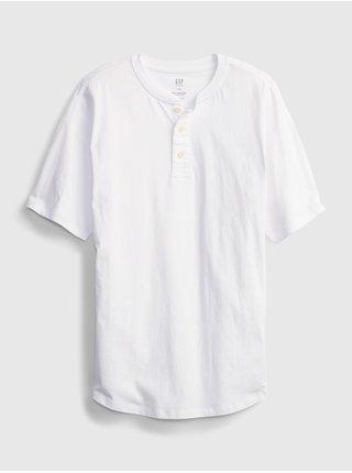Bílé klučičí dětské tričko henley GAP