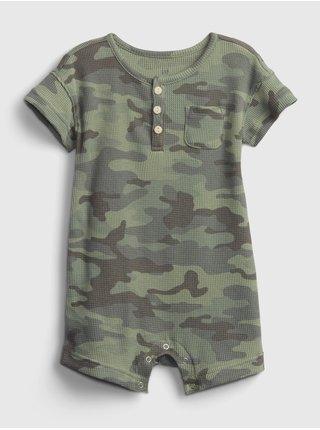 Zelený klučičí baby overal henley short sleeve shortie GAP