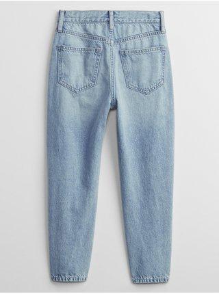 Modré holčičí dětské džíny distressed high-rise mom GAP