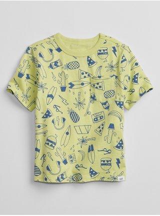 Žluté klučičí dětské tričko print t-shirt GAP