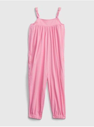 Růžový holčičí dětský overal strappy bubble jumpsuits GAP