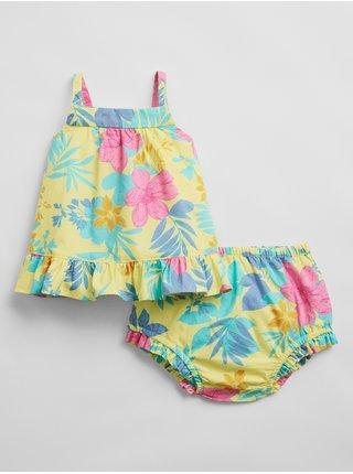 Žluté holčičí baby plavky floral outfit set GAP
