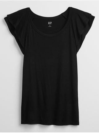 Černý dámský top sleeveless luxe ruffle GAP