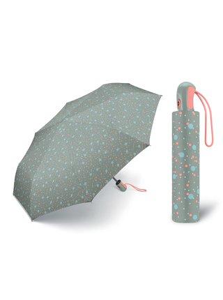 ESPRIT Dots Gray plně automatický skládací deštník puntíkovaný - Šedá
