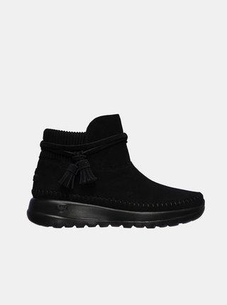 Černé dámské kotníkové boty v semišové úpravě Skechers Allure Black