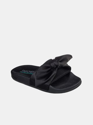 Skechers čierne šľapky Pop Ups s mašľou