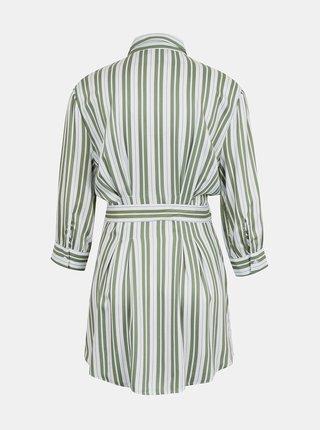 Zeleno-bílé pruhované košilové šaty TALLY WEiJL