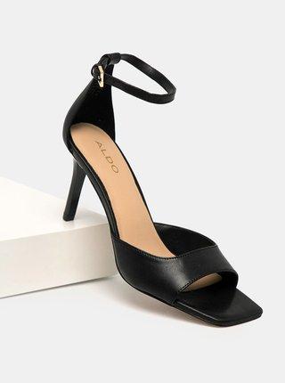Černé kožené sandálky na vysokém podpatku ALDO Asteama