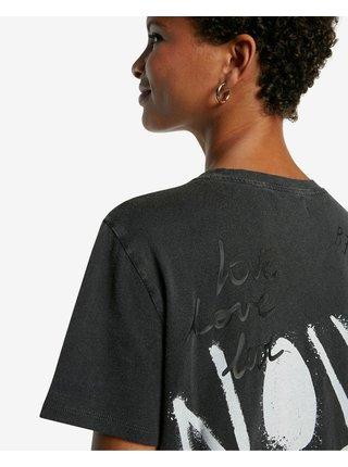 Tričká s krátkym rukávom pre ženy Desigual - sivá