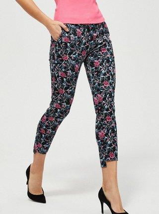 Černé dámské květované zkrácené kalhoty Moodo