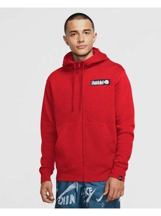 Mikiny s kapucou pre mužov Nike - červená