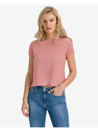 Tričká s krátkym rukávom pre ženy Tommy Jeans - červená, biela