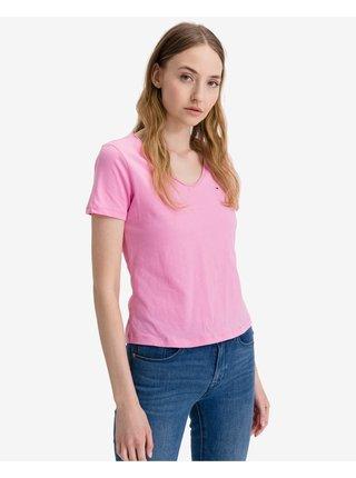 Tričká s krátkym rukávom pre ženy Tommy Jeans - ružová