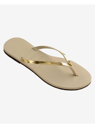 Papuče, žabky pre ženy Havaianas - zlatá, béžová