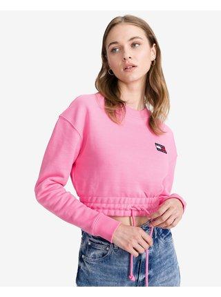 Tričká s dlhým rukávom pre ženy Tommy Jeans - ružová