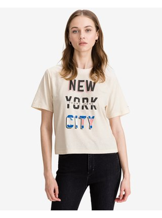 Tričká s krátkym rukávom pre ženy Tommy Jeans - béžová