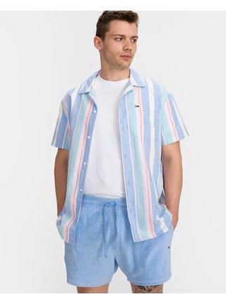 Košele s krátkym rukávom pre mužov Tommy Jeans - modrá, biela
