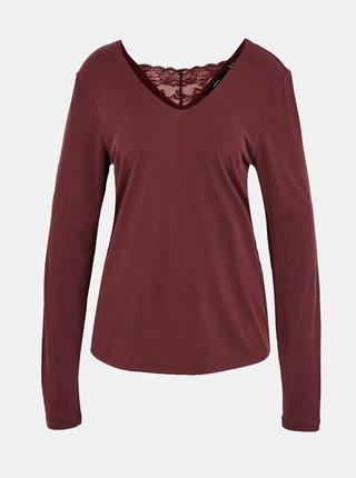 Vínové tričko s krajkovou vsadkou na chrbte VERO MODA Filli