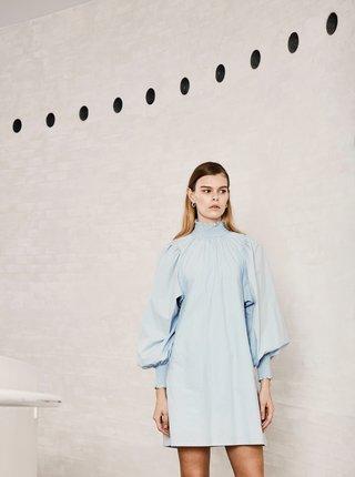 Světle modré dámské šaty se stojáčkem ICHI