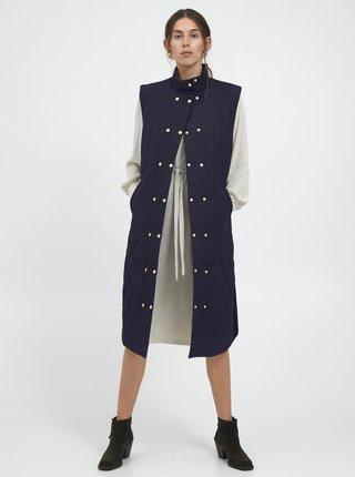 Tmavě modrá dámská dlouhá prošívaná vesta ICHI