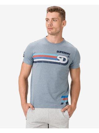 Tričká s krátkym rukávom pre mužov Superdry - modrá, sivá